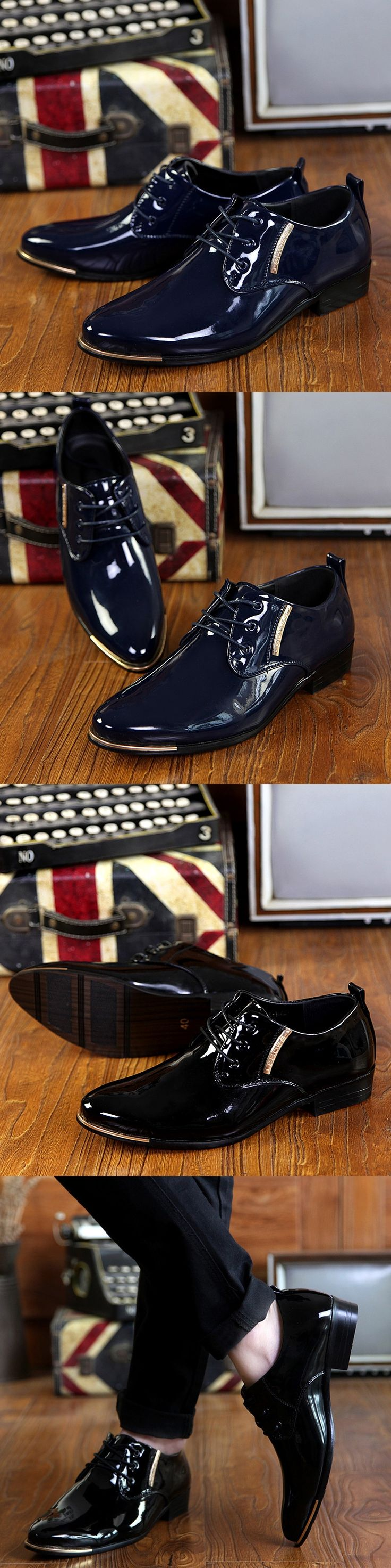 US $22 Luxury Brand British Style High Quality Carved Patent Leather Flat Lace-Up Big Size Oxford Men Wedding Shoes Black Purple