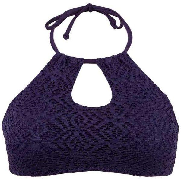 Roxy Sand Dollar Swimwear Top - Blue/Purple Small ($21) ❤ liked on Polyvore featuring swimwear, bikinis, bikini tops, padded bikinis, purple bikini top, halter tops, roxy bikini top and halter bikinis