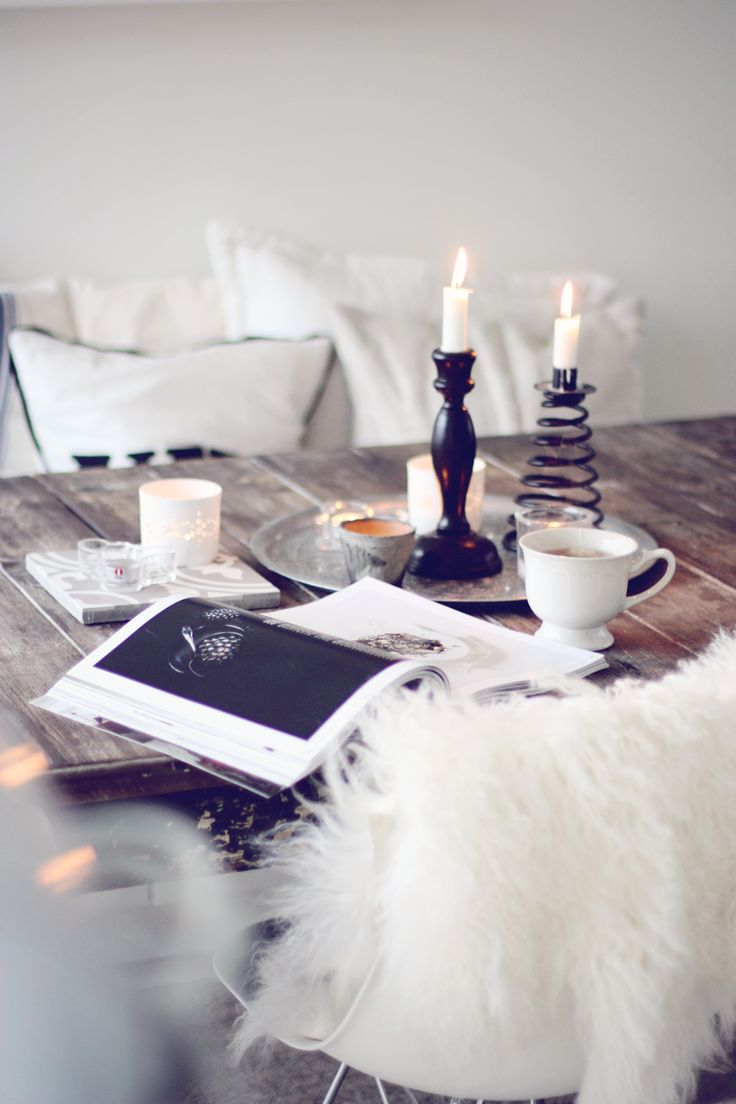 Reading Interiørmagasinet on the kitchen table