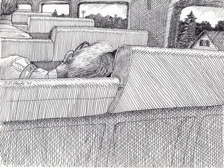 Drawing of older man sleeping from my train commute on Metro North RR into New York — Karl Gude