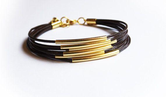 En cuir brun et Bracelet lingot d'or. par MaayanLoveBeads sur Etsy