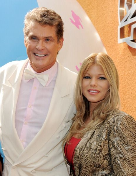 Actors David Hasselhoff and Donna D'errico arrive at the premiere of Universal Pictures and Illumination Entertainment's 'HOP' at CityWalk on March...
