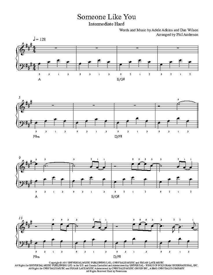 Someone Like You by Adele Piano Sheet Music   Intermediate Level