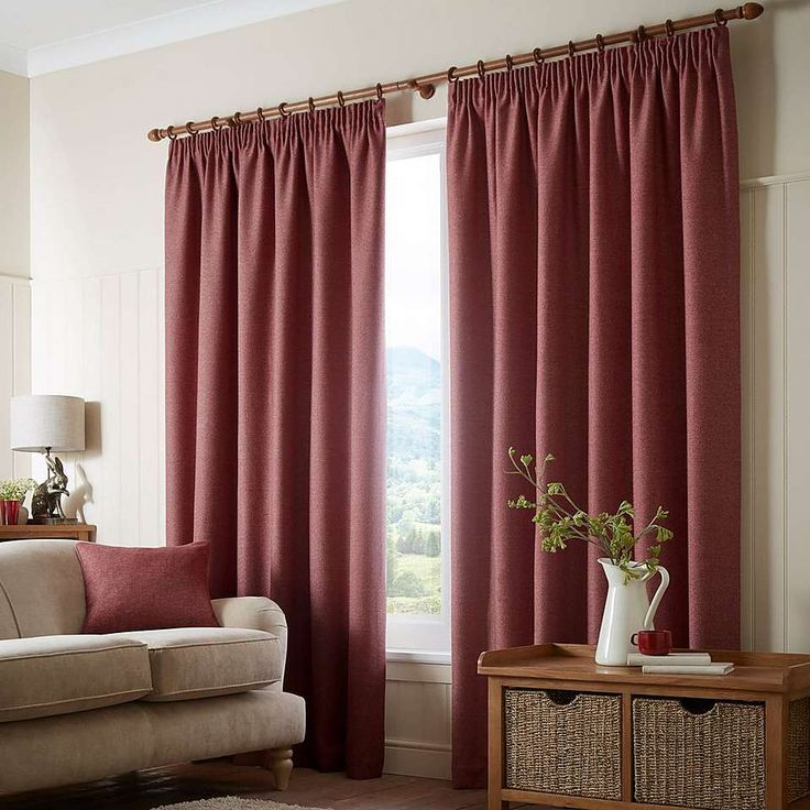 Paxton Red Pencil Pleat Curtains | Dunelm
