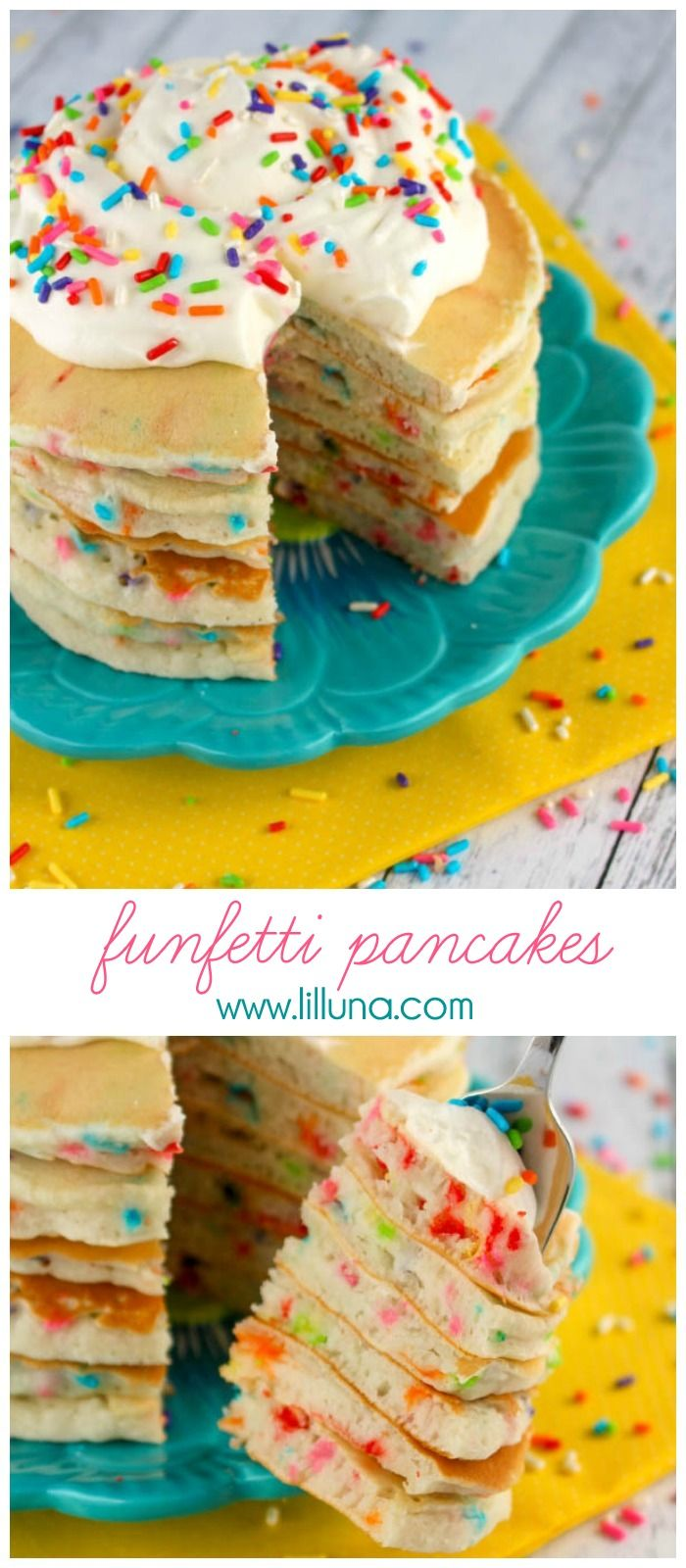 Such a fun birthday tradition! Funfetti Pancakes - festive, simple AND delicious!! { lilluna.com }