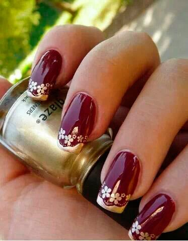 ❥...~Marsala and Gold~...❥.....†.....Top 100 Nail Designs for Perfectly Polished Nails All The Year Round.....14