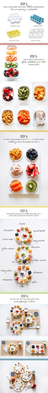 Fun Eating I might actually do this for myself. Easy to prep ahead of time for lunches or dinners when cooking something healthy and wonderful is not an option ----Got a picky toddler who doesnt like meal time? Check out these easy steps to make little nibbler trays