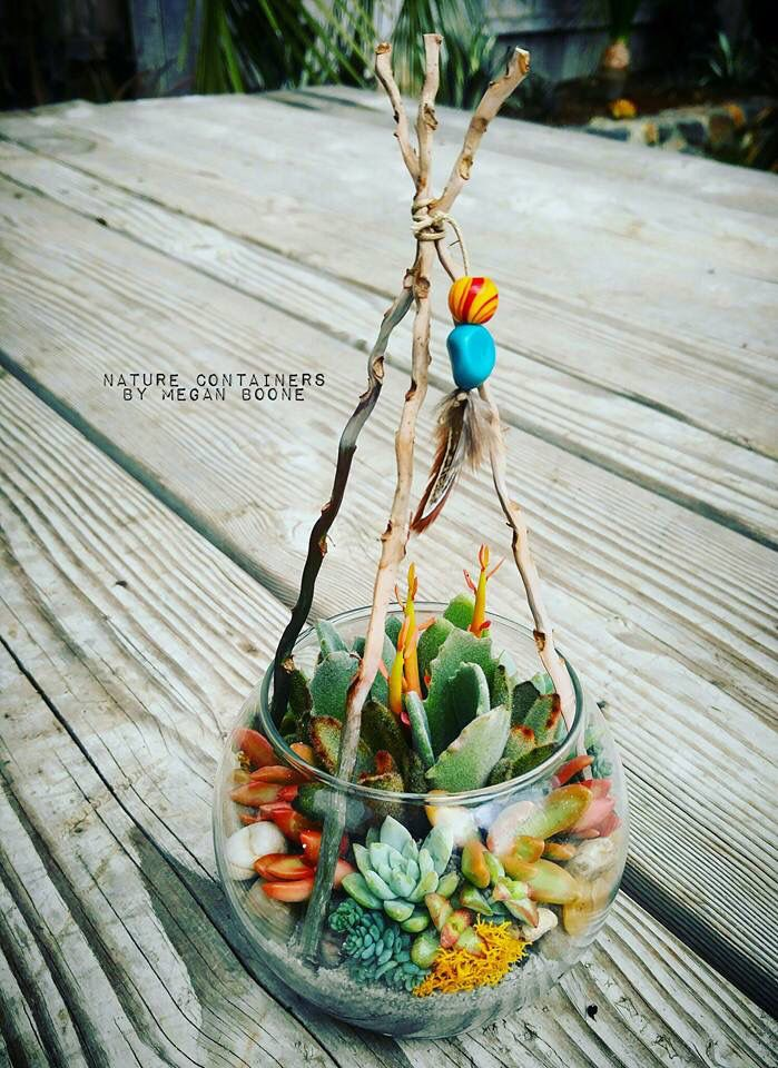 Native American Themed baby shower center pieces!!! Soooo adorable! Nature Containers by Megan Boone.