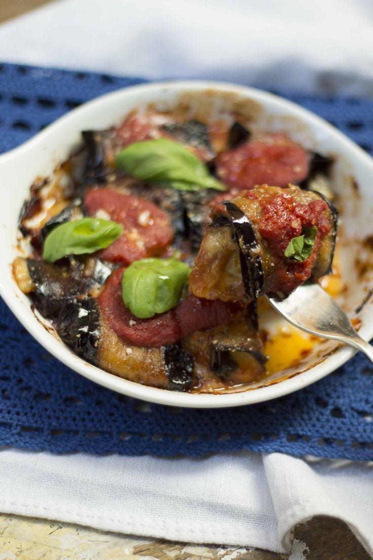 One-bite eggplant parmesan - retooling di parmigiana di melanzane
