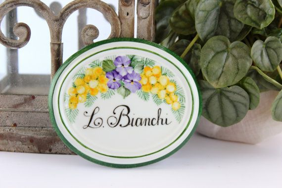 House name plaque handpainted porcelain, with violets and mimosa.House sign, custom house sign, address plaque