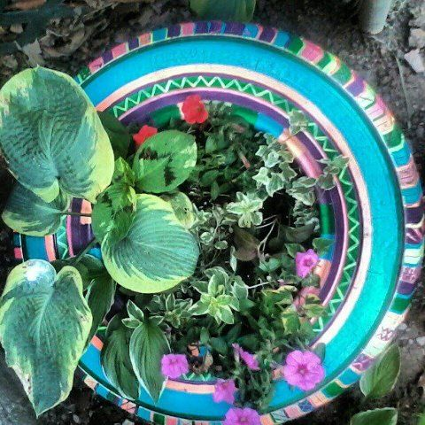 old tire planter.  I love all the colors.