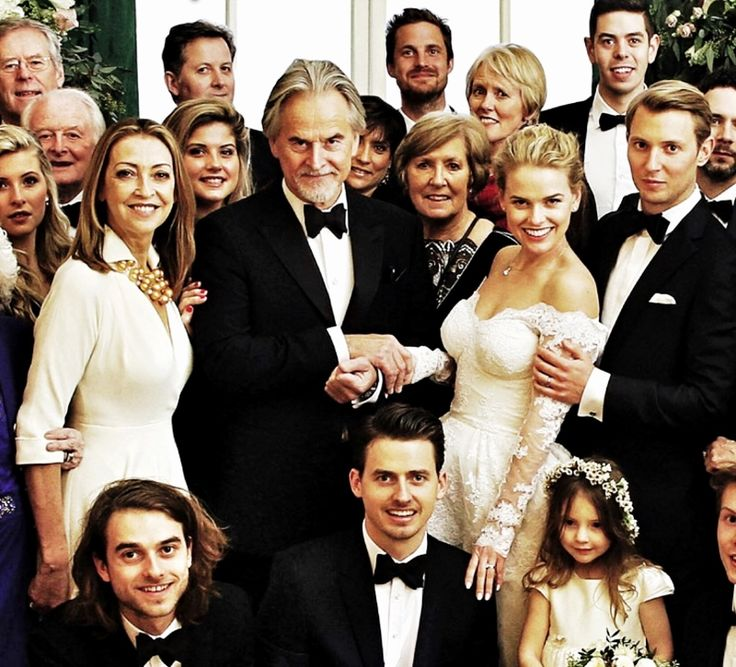 Alice Eve's wedding. Trevor Eve, Sharon Maughan, Alice Eve, Jack Eve, George Eve, and Alice's bridegroom Alex Cowper-Smith. 31st December, 2014. (Hello Magazine)
