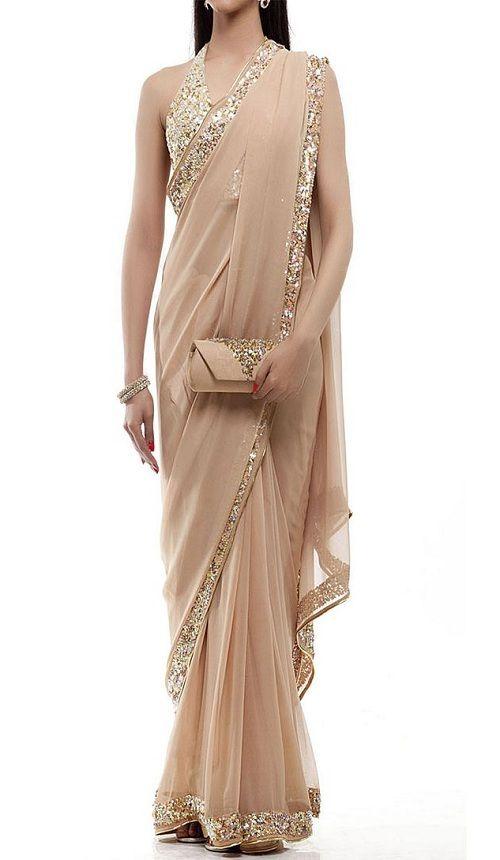 Sari Blouse Indian Designer Saree Indian ethnic Gold Stylish Elegant Different
