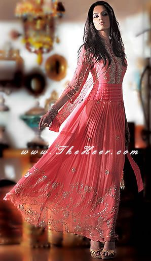AK6855 Coral Pink crinkle chiffon Anarkali Style Pakistani Indian Anarkali Latest Anarkali style dresses With Shalwar Churidar in Calgary Toronto Anarkali
