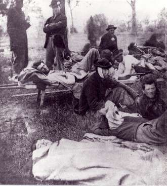Civil War Diseases | typical after battle scene as the soldiers await medical help and ...