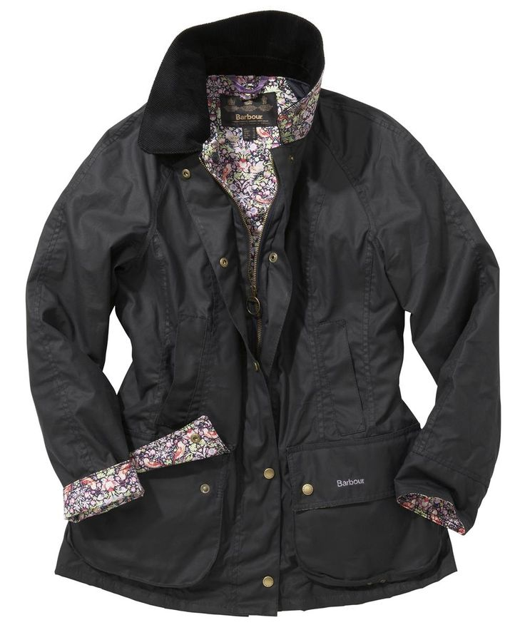 Womens Barbour Beadnell Jacket in Navy with Morris Liberty Print lining and trim