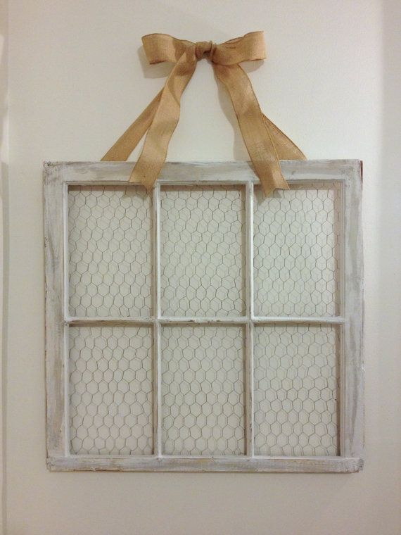 """31x32"""" Antique Window Picture Frame on Etsy Love this and the bow. Might want to incorporate this into the wall. Also, would be good to find some metal scroll work or diffent """"relief"""" type stuff"""