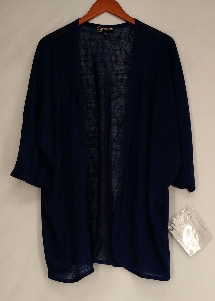 Serena Williams Plus Size Sweater 2X Dolman Sleeve Cardigan Blue NEW
