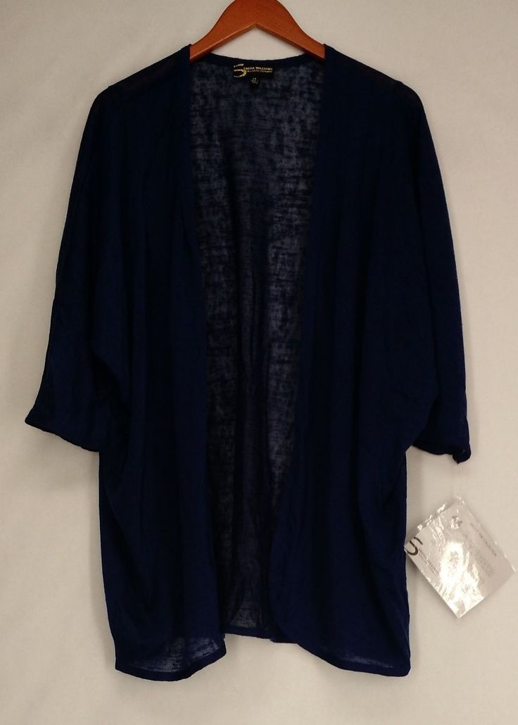 Serena Williams Plus Size Sweater 2X Dolman Sleeve Cardigan Blue NEW