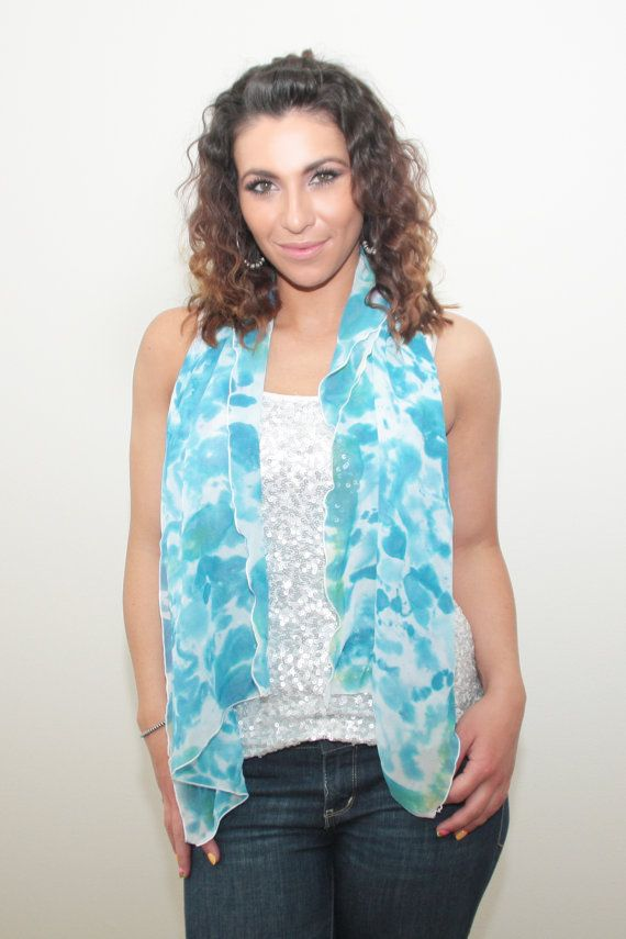 Chiffon Scarf Blue and White Hand Painted dyed Silk