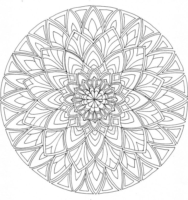 Difficult Level Mandala Coloring Pages : I would love to stitch this into a circular quilt, batik perhaps