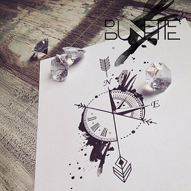 Boussole - Flèche - Montre - Compass - Clock - Tattoo Idea