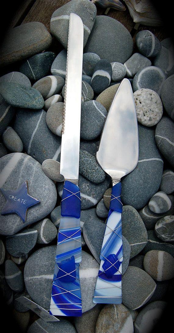 Grey Dog Studio Sea Glass Cake Knife & Server, $48.00, cobalt blue