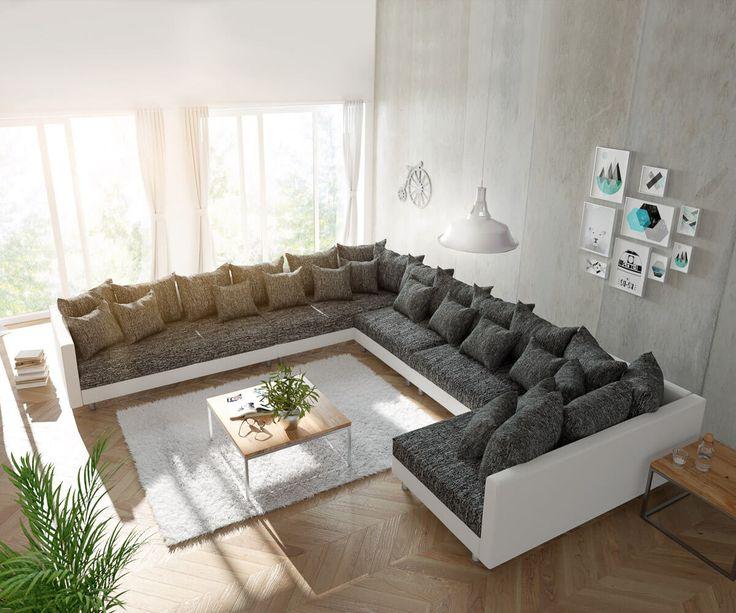 DELIFE Wohnlandschaft Clovis XXL Weiss Schwarz Ottomane Links, Design  Wohnlandschaften, Couch Loft, Modulsofa