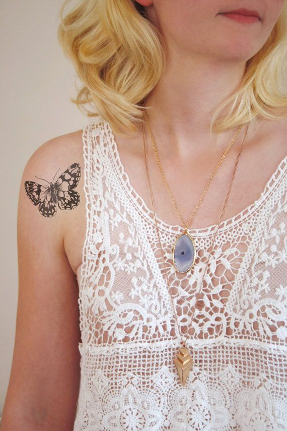 Vintage butterfly temporary tattoo by Tattoorary on Etsy