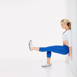 Wall Sit with Leg Lift        With back against a wall, stand with feet hip-width apart so that heels are about 2 feet from wall.      Bend knees and slide down wall until thighs are parallel to floor. Lift left foot and straighten left leg so that it's parallel to floor; hold for 30 seconds. Gradually build up to 60 seconds.      Switch legs and repeat to complete 1 rep.      Do 3 reps.