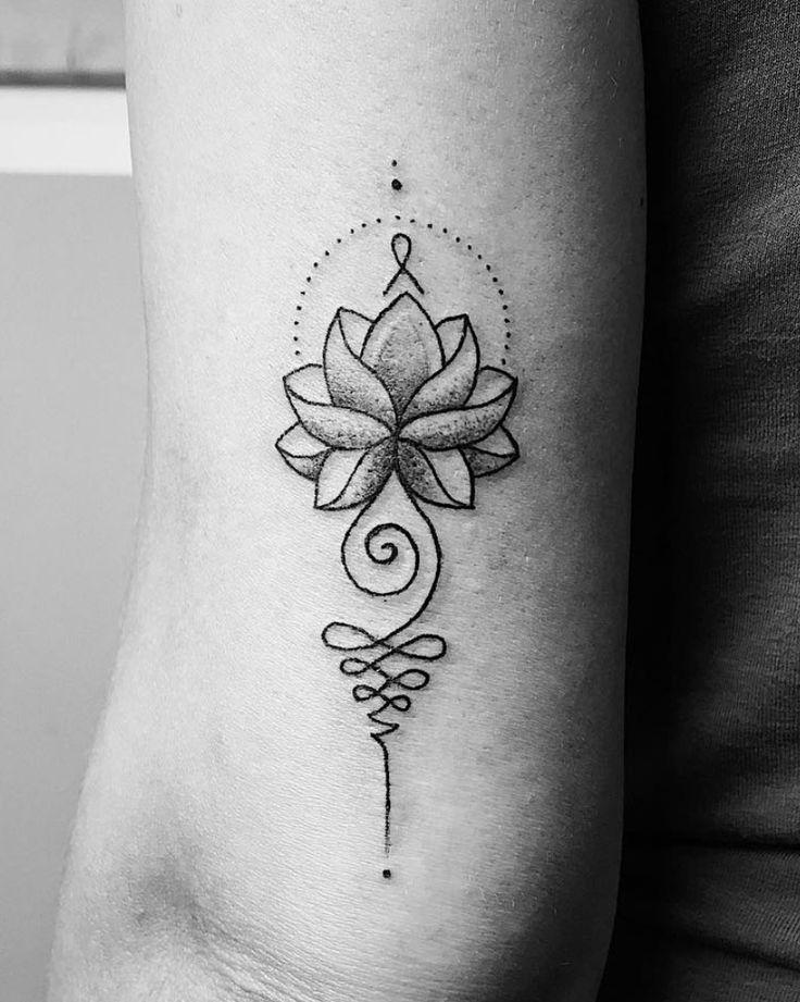 unalome buddhist tattoo lotus