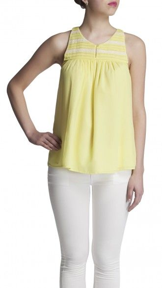 sbuys - Lace Insert Tank Top #lemon #pastel #spring #sbuys #lace Shop now at www.sbuys.in