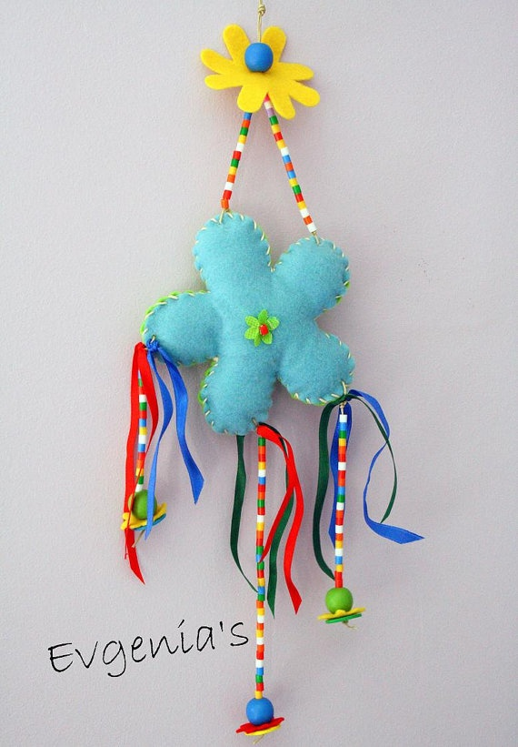 Handmade Stuffed Blue and Green Flower with by EvgeniasOrnaments, $18.00