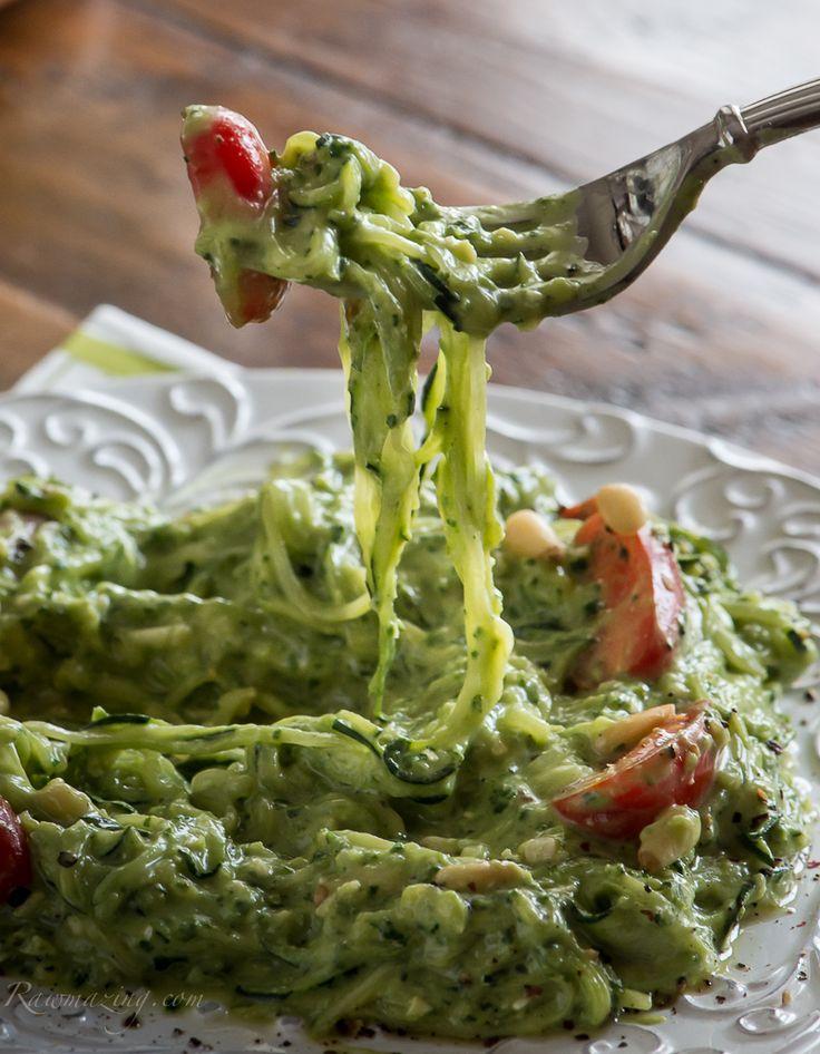 Raw Acocado Kale Pesto with zucchini noodles @Susan Caron Caron Caron Powers.com