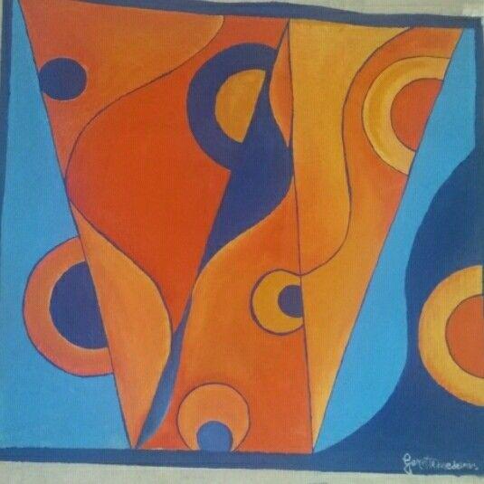 Pintura em tela com PVA-Aula de geometria.