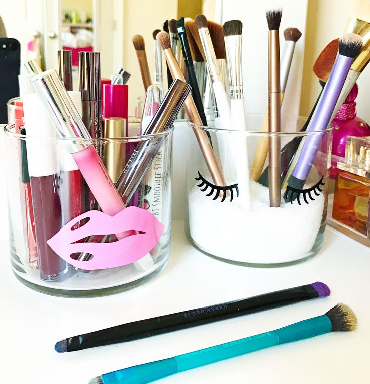 Simple cuts with the CAMEO turn plain glass jars into sassy makeup holders.