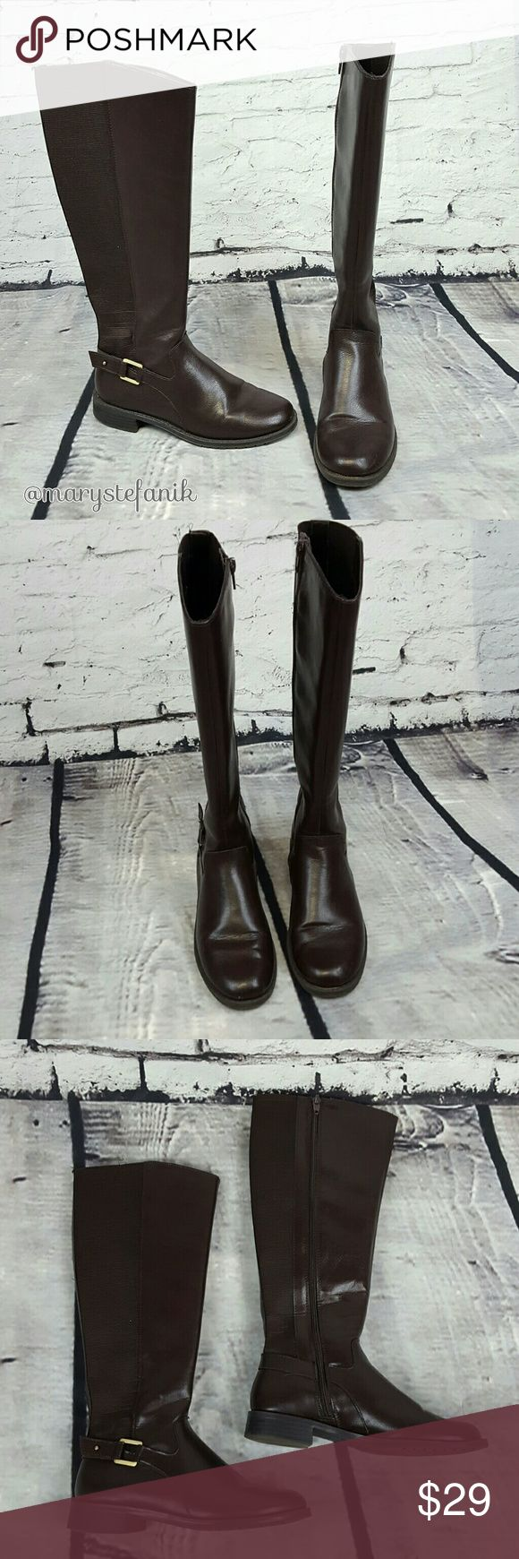 Easy Spirit Tall Chocolate Brown Riding Boots 5 Easy Spirit Tall Chocolate Brown Riding Boots size 5 in excellent used condition. Man made material. Comfy and stylish!  Please let me know if you have any questions. Happy Poshing! Easy Spirit Shoes Winter & Rain Boots