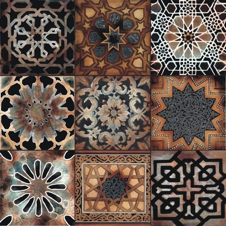 """This is one 6"""" ceramic tile, great for installing in your back splash. This design is made with nine squares, each a different pattern with an old world, Mediterranean look."""