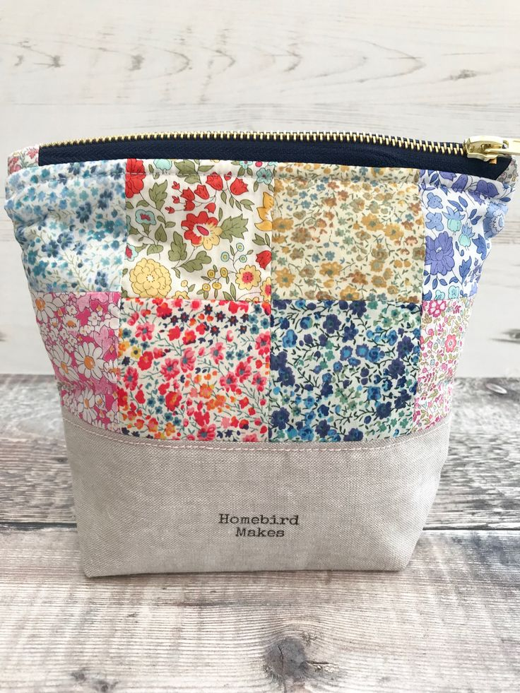 Patchwork Liberty bag, Make up bag, Cosmetic bag, Project bag, Hobby bag, Liberty of London, Zipper bag, Gifts for her, Notions pouch
