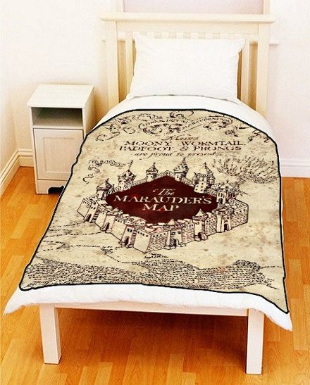 MARAUDERS MAP Harry Potter Bedding Fleece Blanket Bed by ilovepop, $35.00, WHAT IS WITH THE SUDDEN FANDOM BLANKETS I NEED THEM