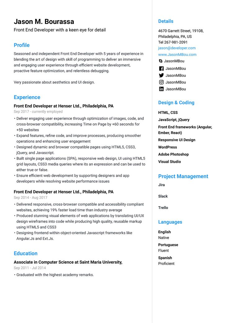 Front end developer resume example resume examples web
