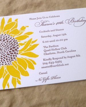 White Color Background Use Sunflower Birchcraft Wedding Invitations Simple Your Designs
