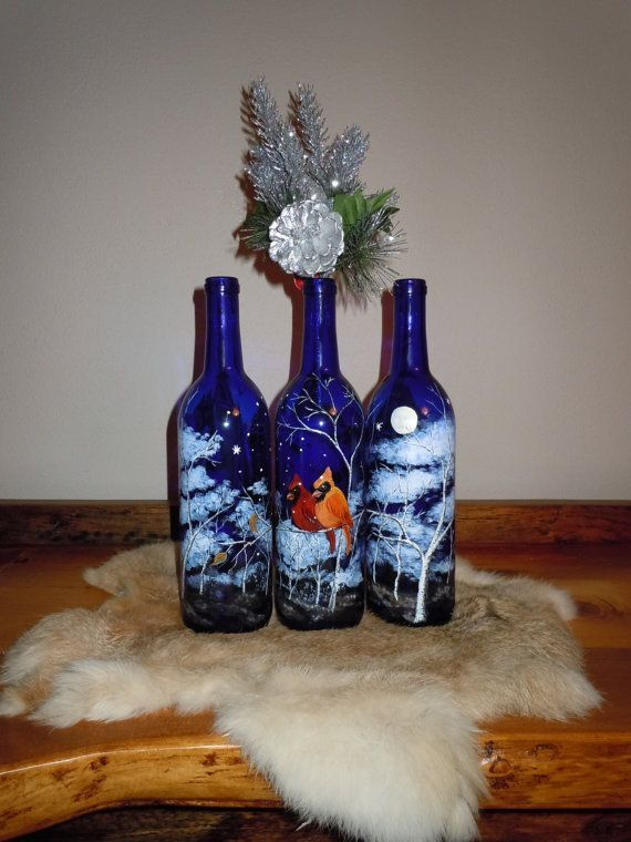 primitive crafts on ebay | Hand Painted Wine Bottle with Cardinals in by AKKUniqueGifts, $69.00