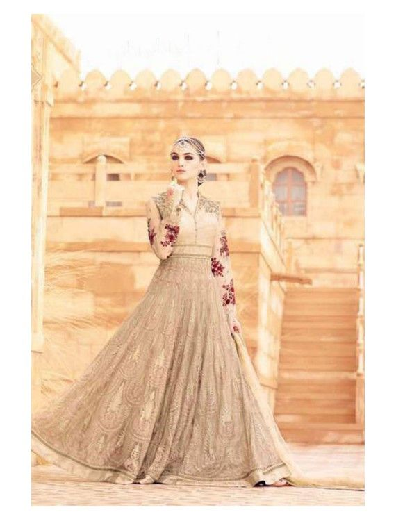 Classy Beige and Golden Designer Anarkali Salwar Kameez