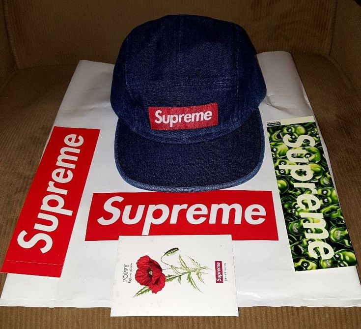 Supreme Washed Chino Twill Denim camp cap  S/S 18 with Skull Pile BOGO and Poppy #Supreme #WashedChinoCampcap