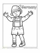 A coloring sheet for 1st graders about people from around the world. This is a picture of a German boy in traditional clothing.