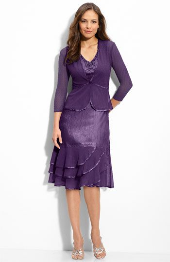 Love the color!  I'm down to this one or the Damianou!    Komarov Beaded Charmeuse & Chiffon Dress with Jacket | Nordstrom