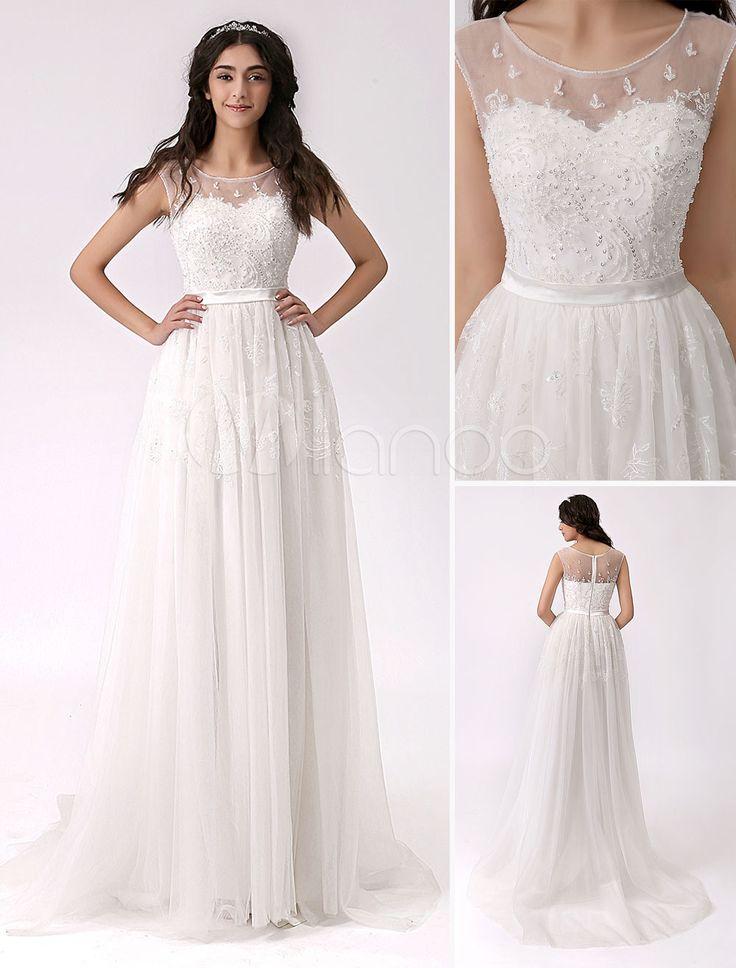 Beaded Side Slit Lace Wedding Dress with Illusion Neckline
