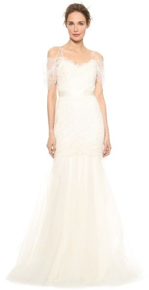 Such a romantic wedding dress >> Marchesa Re-Embroidered Lace Mermaid Gown