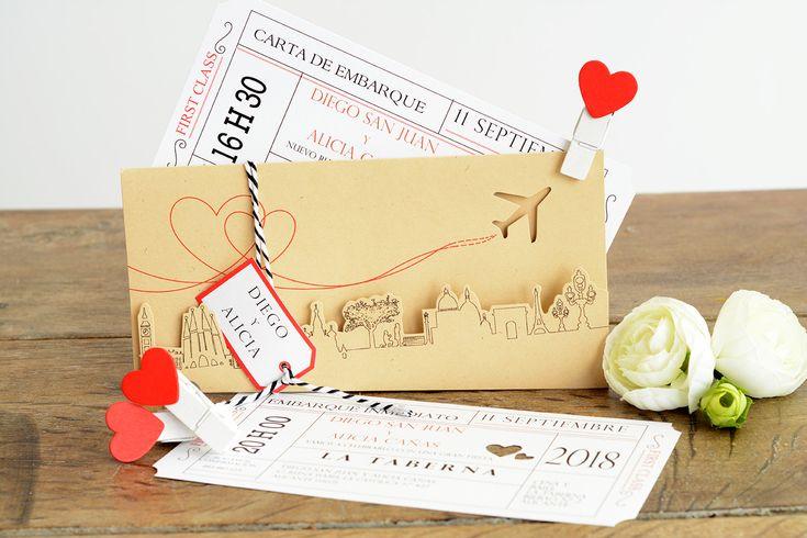 Aventura Invitación de boda en forma de estuche con los principales monumentos europeos troquelados. El interior contiene dos tarjetones que simulanlos billetes de avión que utilizareis en vuestra luna de miel! ;) Fundamental invitación para acompañarte en el viaje Sobre incluido http://www.invitacionesdeboda-youandme.es/invitaciones/invitacion-de-boda-aventura/